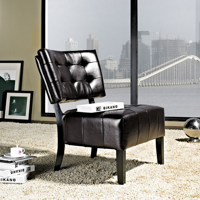 Livingston Dark Brown Accent Chair -Bonded Leather Armless ...