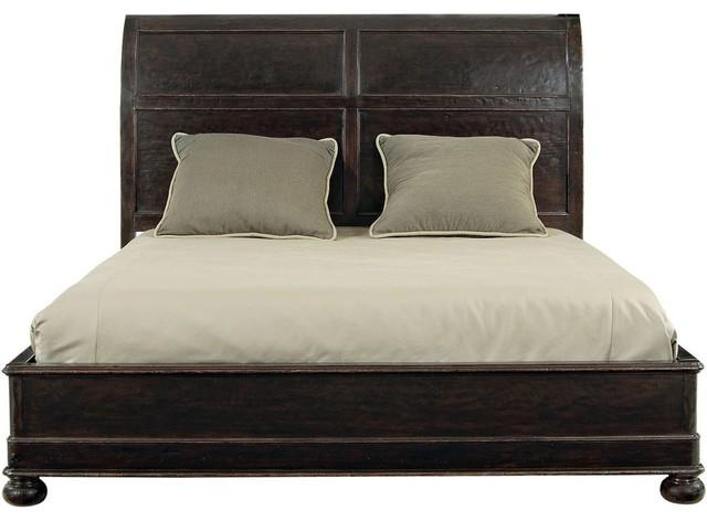 Bernhardt Furniture Vintage Patina Platform Bed Queen Molasses Traditional Sleigh Beds
