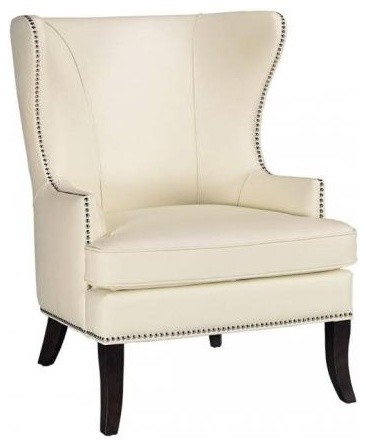 White leather wingback chair