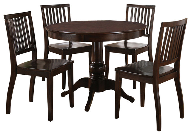 Steve silver candice 5 piece round dining room set in dark for Traditional round dining room sets