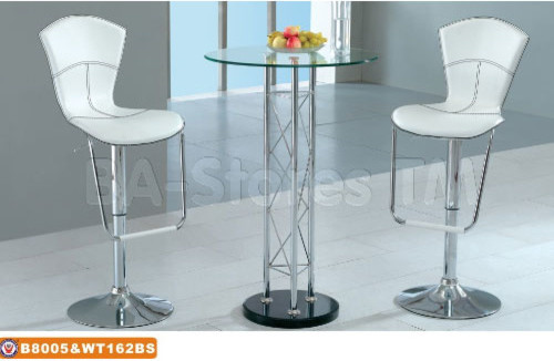 Modern Bar Set High Bar Table With Glass Top And Two