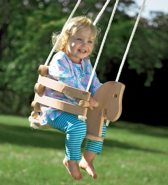 Wooden Horse Swing Contemporary Kids Playsets And Swing Sets By Magic Cabin