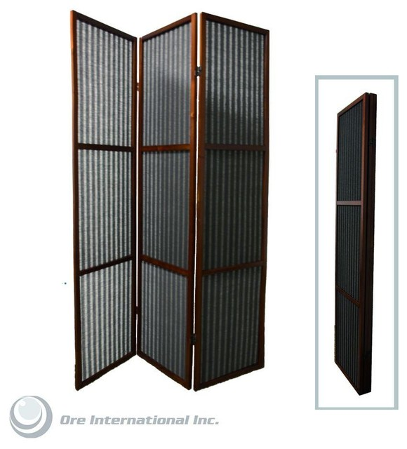 3 Panel Rattan Room Divider In Walnut Finish Contemporary Screens And Roo
