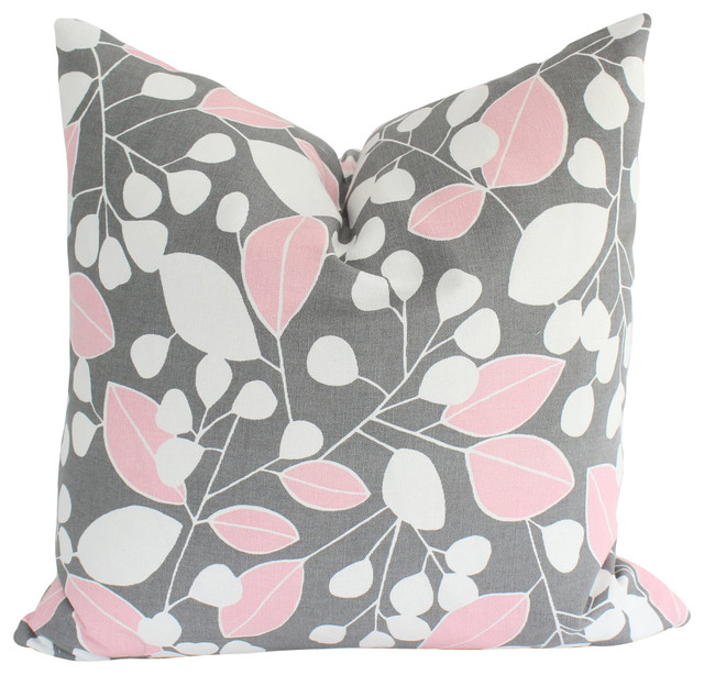 Grey And Pink Decorative Pillows : Decorative Pink and Grey Pillow Cover with Leaves and Stripes - Contemporary - Decorative ...