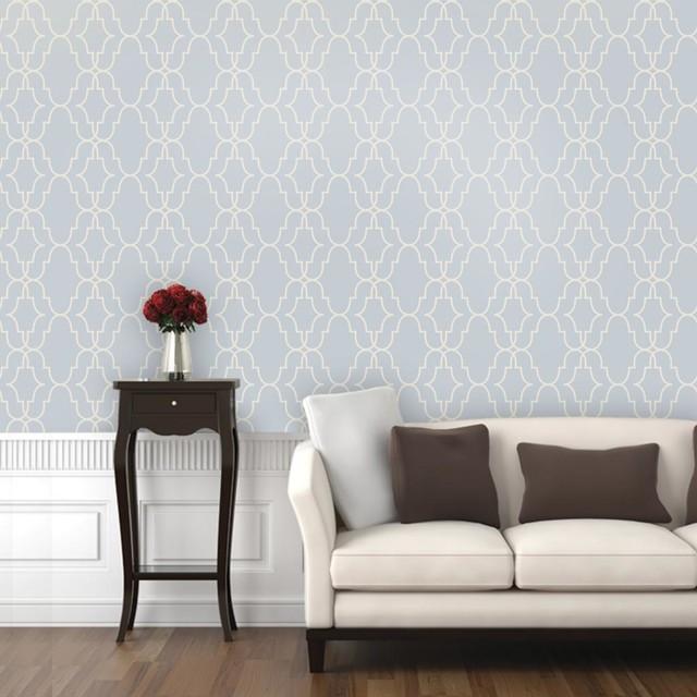 "Modern Trellis Wallpaper: Double Trellis Wallpaper, Rain Delay, 25""x6.5"