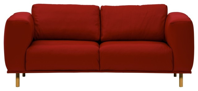2 sitzer sofa liberty semianilinleder rot eiche modern. Black Bedroom Furniture Sets. Home Design Ideas