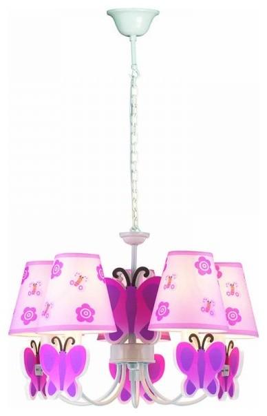3 Lights Modern Style Butterfly Theme Pink Chandelier