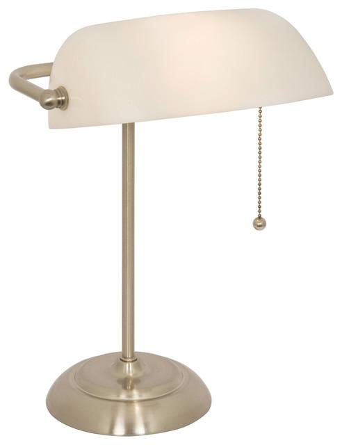 banker 39 s lamp with white shade brushed steel finish. Black Bedroom Furniture Sets. Home Design Ideas
