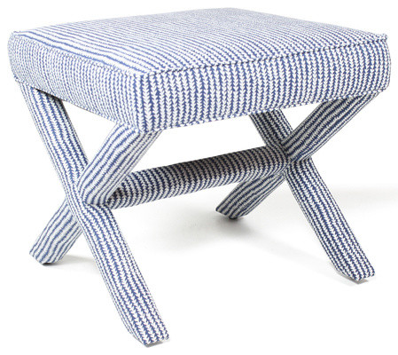 Blue Rigsby X Bench Contemporary Upholstered Benches By Furbish Studio