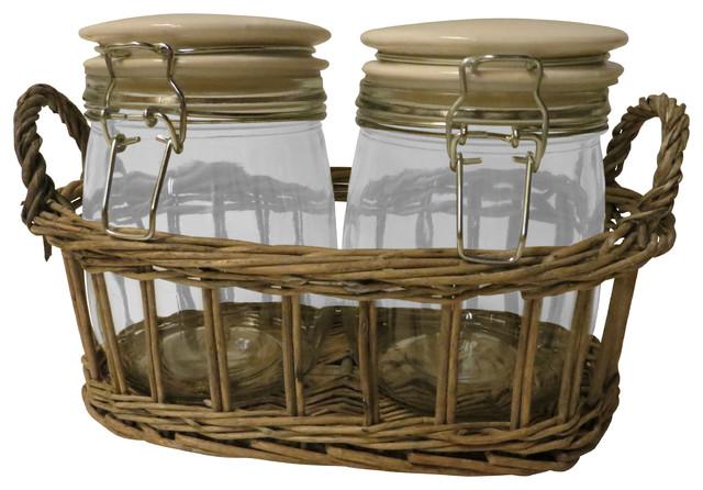set of 2 jars in wicker carrier rustic kitchen