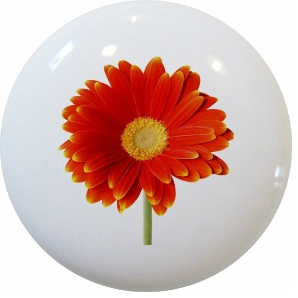 Red Orange Daisy Floral Ceramic Knob - Contemporary - Cabinet And Drawer Knobs - by Carolina ...