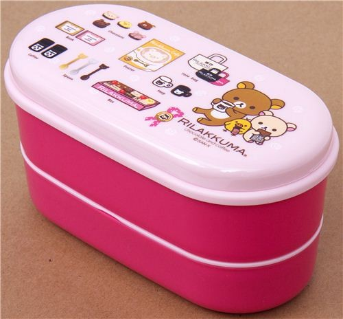pink Rilakkuma bear Bento Box with coffee & chocolate lunch-boxes-and ...