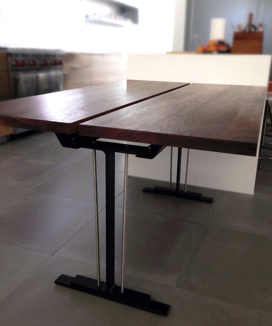 custom walnut steel dining table modern dining room orange