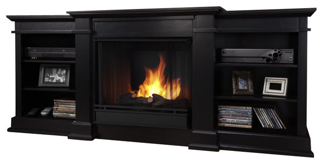 Real Flame Fresno Indoor Gel Tv Stand Fireplace In Black Indoor Fireplaces By Cymax