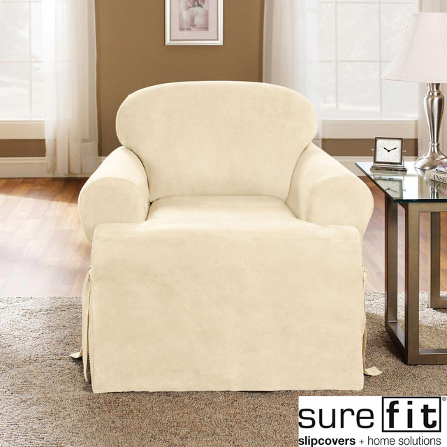 Slipcover Furniture Living Room: Soft Suede Cream T-Cushion Chair Slipcover