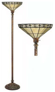 tiffany style mission torchiere lamp traditional floor. Black Bedroom Furniture Sets. Home Design Ideas