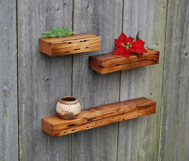 Three Chestnut Floating Shelves Rustic Display And