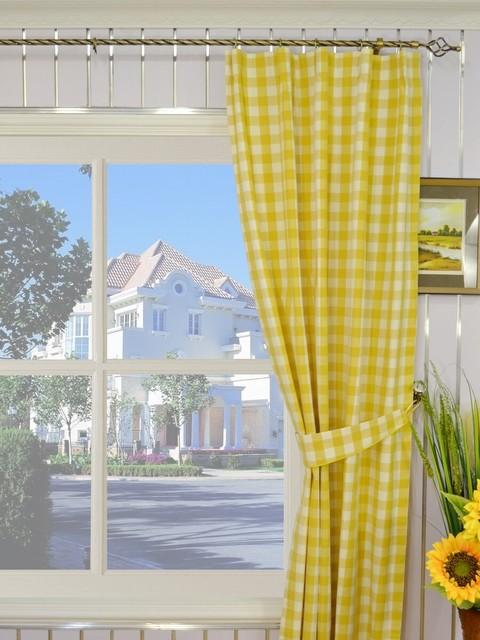yellow plaid blackout window curtain panels modern curtains