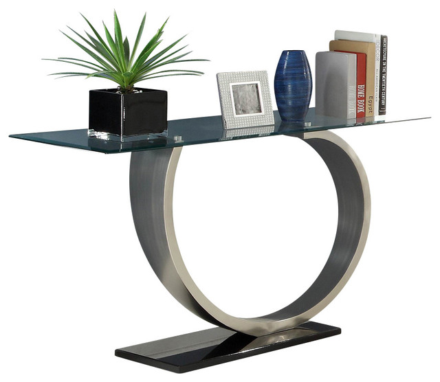 Homelegance Silvera Rectangular Glass Sofa Table with ...