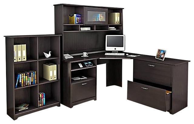 Cabot L Shaped Desk With Hutch: Bush Cabot 4-Piece Corner Computer Desk Office Set In