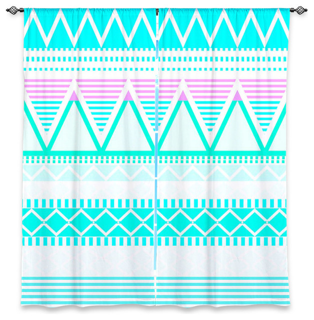 Window Curtains Unlined Dianoche By Organic Saturat Bright Turquoise Tribal Contemporary