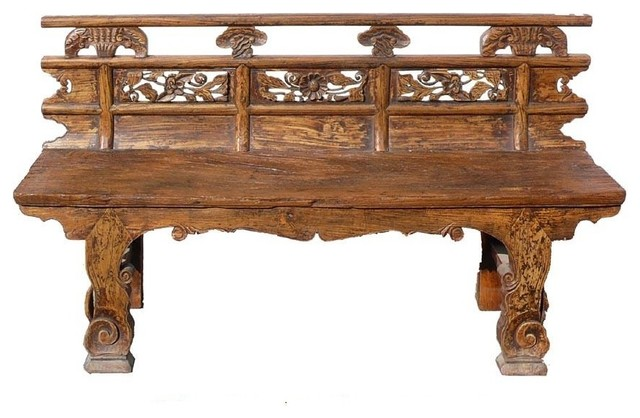 Rustic flower carving wood double seat bench eclectic