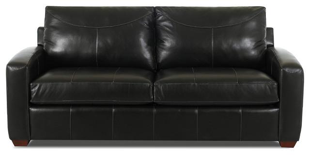 Boulder Leather Queen Sleeper Sofa Durango Black