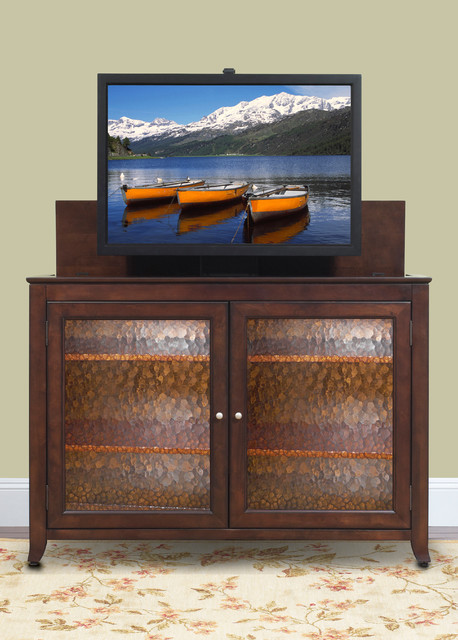 Carmel tv lift cabinet for flat screen tv 39 s up to 55 for Tv lift consoles for flat screens