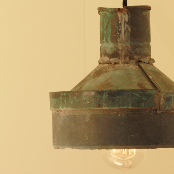 Rustic lighting with vintage rustic copper funnel shade by
