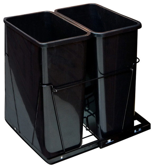 35-Quart Double Pullout Waste Container System - Traditional - Trash Cans - by Burroughs ...