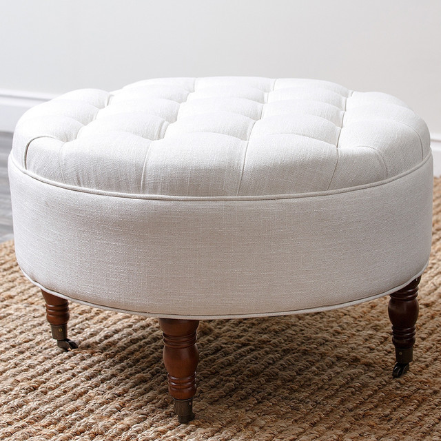 Abbyson Living 39 Clarence 39 Tufted Round Ottoman