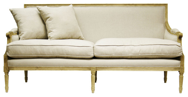 St Germain French Country Natural Oak Louis Xvi Natural Linen Sofa Traditional Sofas
