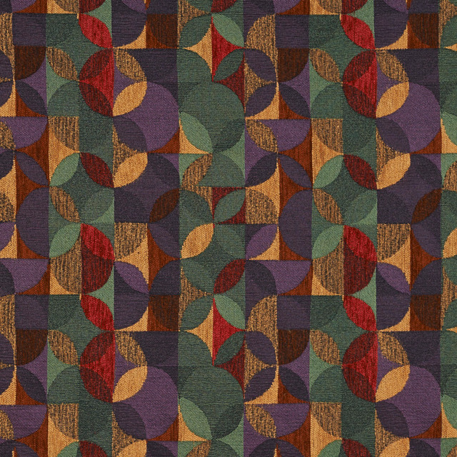 Purple Green And Red Geometric Chenille Upholstery Fabric By The Yard Contemporary