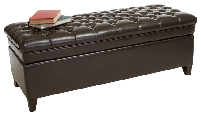 Qubic Tufted Espresso Brown Leather Storage Ottoman Bench Contemporary Accent And Storage