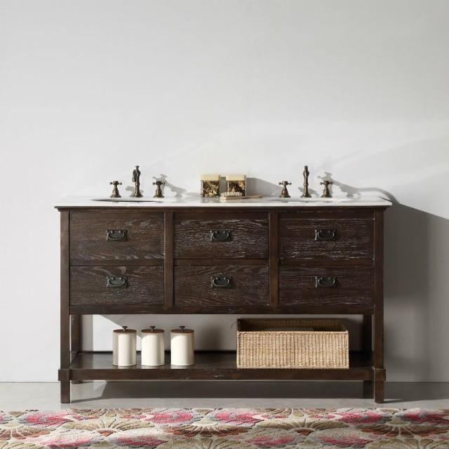 Abel 60 Inch Rustic Brown Wash Double Bathroom Vanity