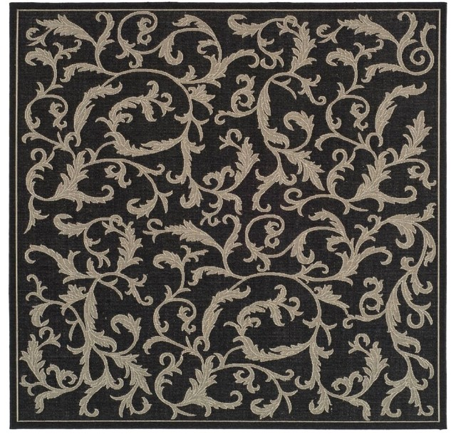 "Indoor Outdoor Courtyard Square 7 10"" Square Black Sand"