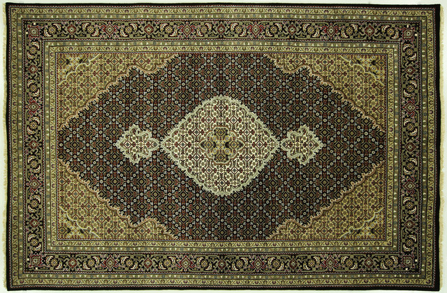 Hand knotted 6 39 x9 39 fish design black tabriz wool silk for Fish area rug