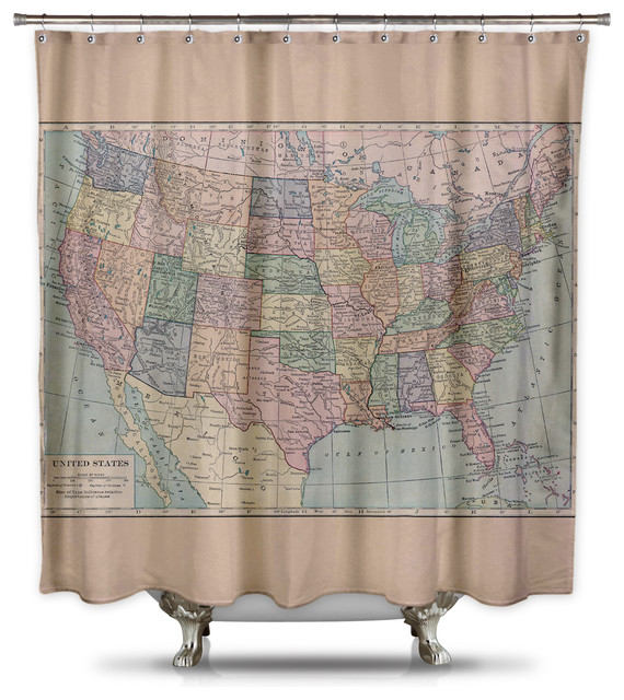 Vintage Map Of The United States Shower Curtain By