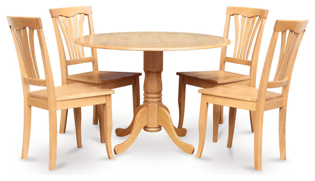 5 Pc Kitchen Table Set Drop Leaf Table And 4 Dinette