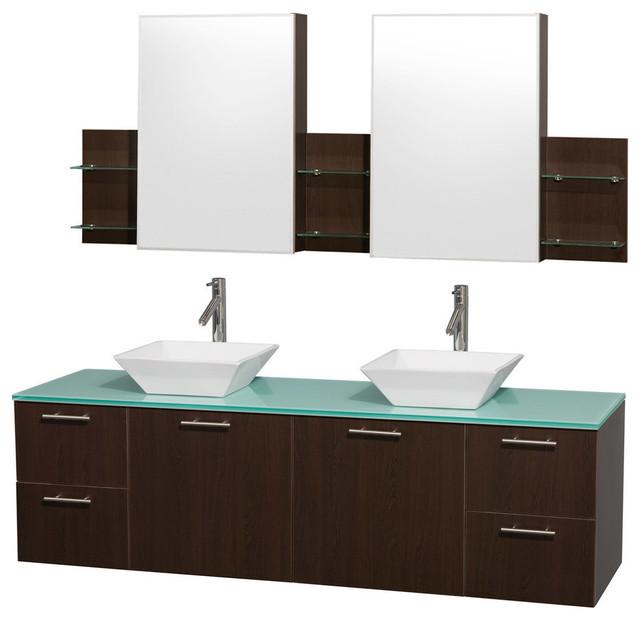 "72"" Double Bathroom Vanity in Espresso With Green Glass ..."