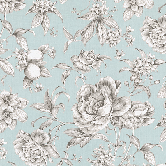 Light Blue Floral Toile Sateen Fabric Victorian