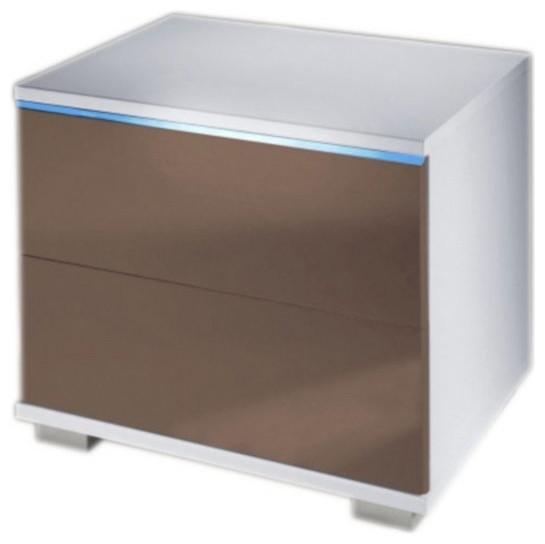 table de chevet 2 tiroirs avec clairage led contemporain table de chevet et table de nuit. Black Bedroom Furniture Sets. Home Design Ideas