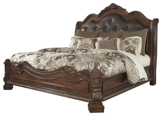 ledelle king sleigh headboard bed with upholstered faux leather brown traditional. Black Bedroom Furniture Sets. Home Design Ideas