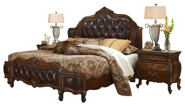 lavelle melange 4 piece king bedroom set with leather