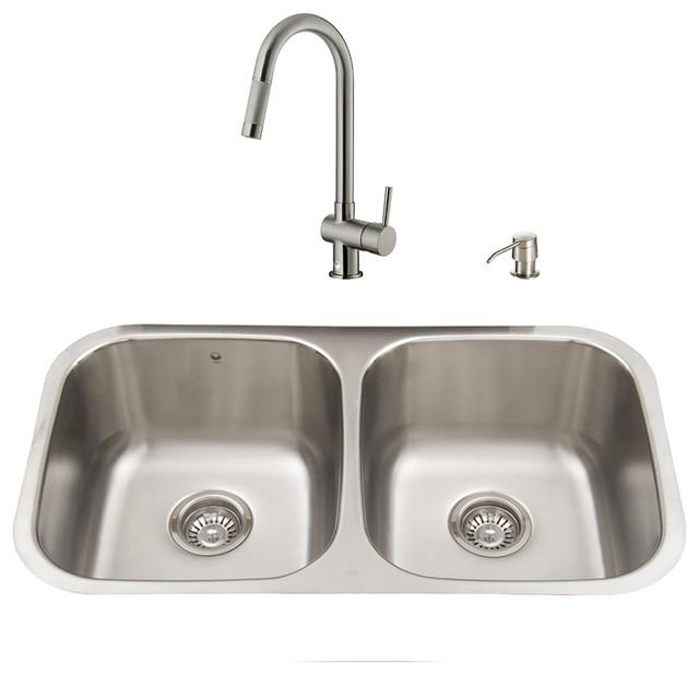 VIGO All in One 32-inch Undermount Stainless Steel Kitchen Sink and ...