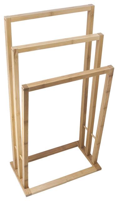 Porte serviette sur pied bambou 3 niveaux contemporain - Porte serviette sur pied ikea ...