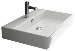 24 Ada Compliant Ceramic Wall Mounted Vessel Bathroom Sink Contemporary Bathroom Sinks