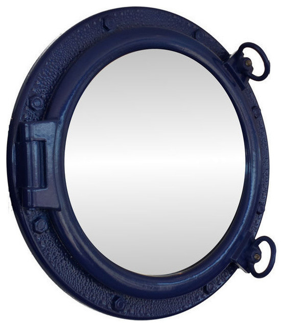 Porthole mirror navy blue 20 beach style wall for Porthole style mirror