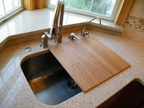 Kitchen Sink Cover Strainer Stainless Steel Floor Design With Cutting Board