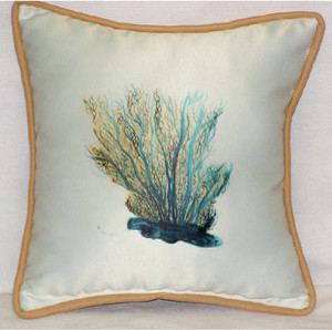 Aqua Blue Coral Throw Pillow - Tropical - Decorative Pillows - by Caron s Beach House
